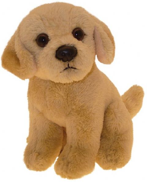 Golden Labrador puppy dog sitting Cuddly toy 6.5""